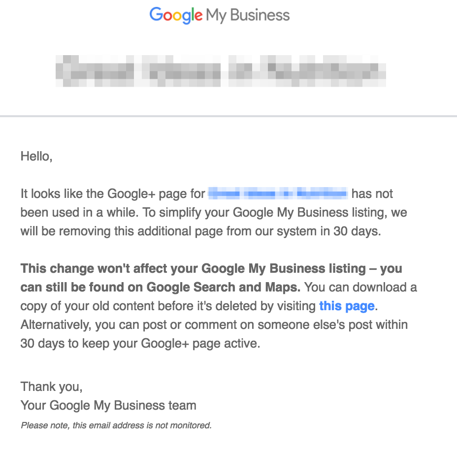 Unused Google+ page email warning