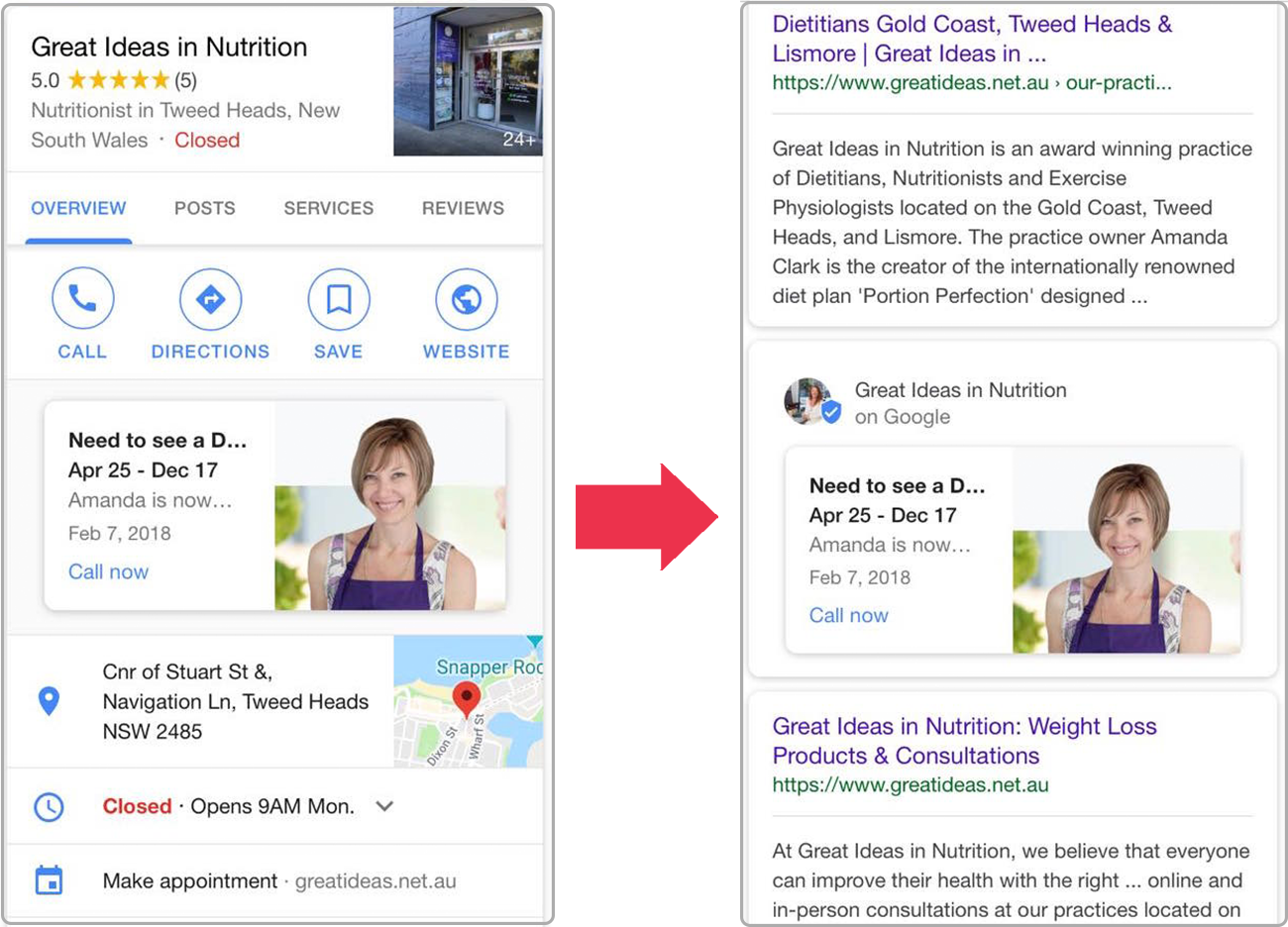 Google Posts mobile test separates Posts from listings in SERPs