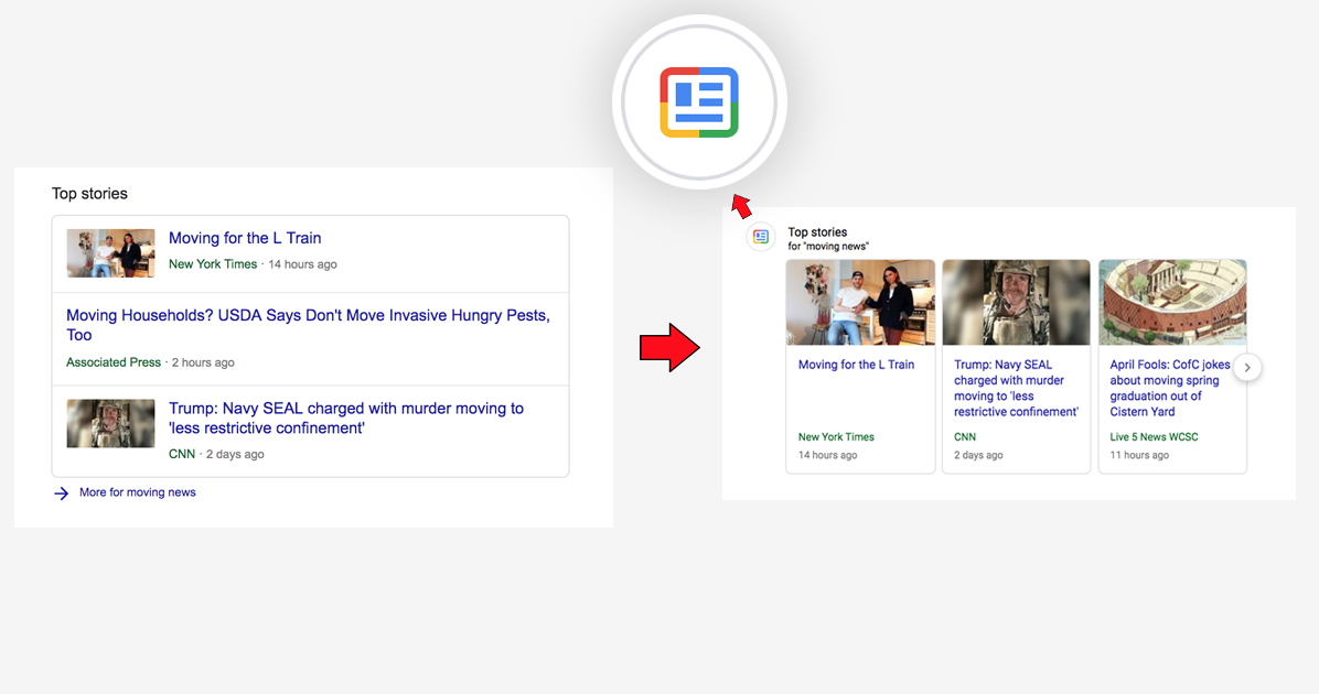 google testing colourful icons in search results