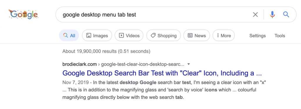 google desktop menu tab test with rounded items