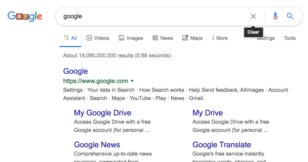 """Google Testing a """"Clear"""" Icon in the Search Bar"""