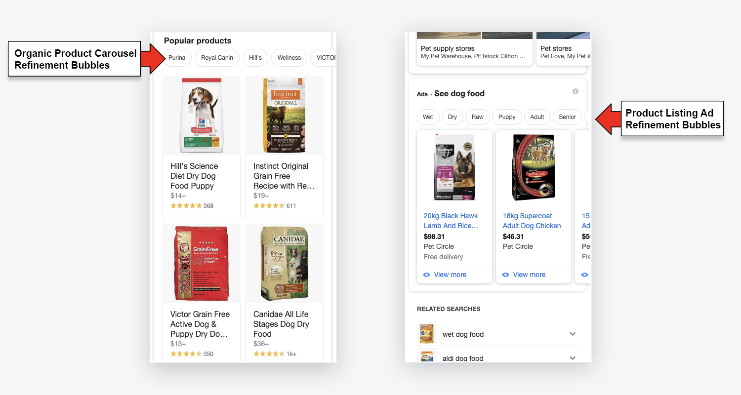 google refinement bubbles for ecommerce listings
