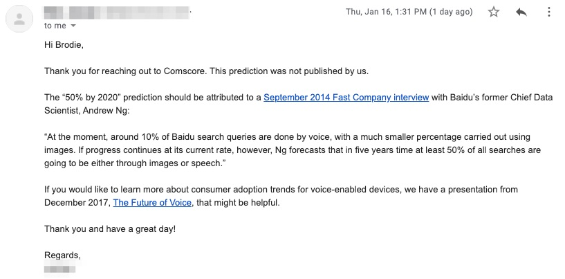 voice search 50 percent comscore statistic 2020