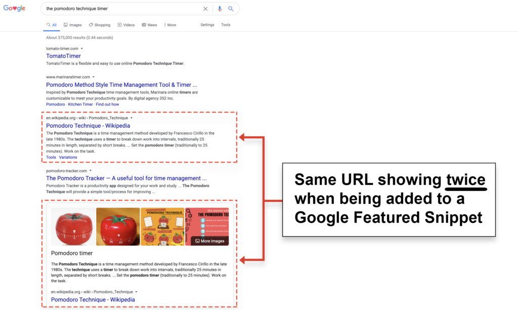 some google featured snippets having second URL repeated