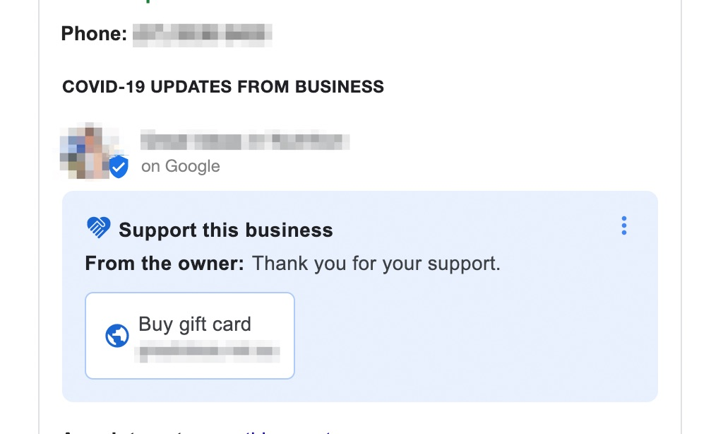Google My Business COVID-19 Donation & Gift Card Links Now Rolling Out