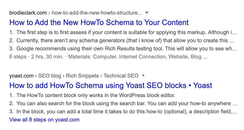 how-to schema showing on desktop search results google
