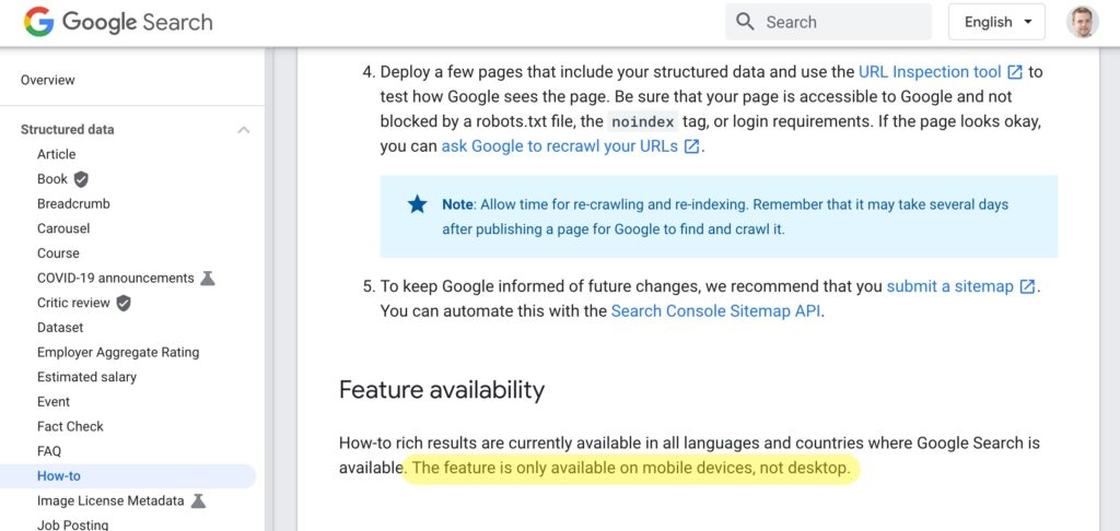 howto schema only available on mobile not desktop