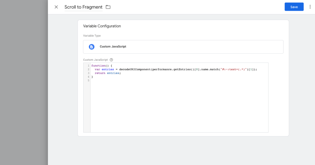 scrolltotext fragment custom javascript google tag manager
