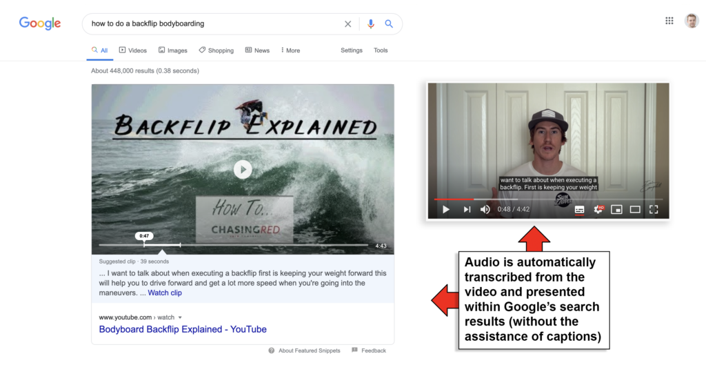 google featured snippets suggest clip audio transcribed from youtube video