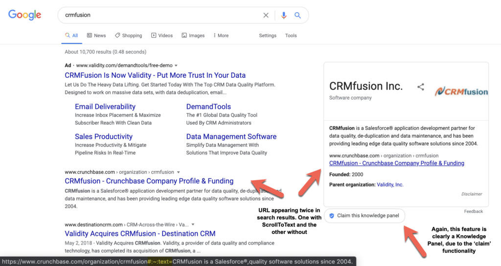 google knowledge panel google with scrolltotext url also repeating