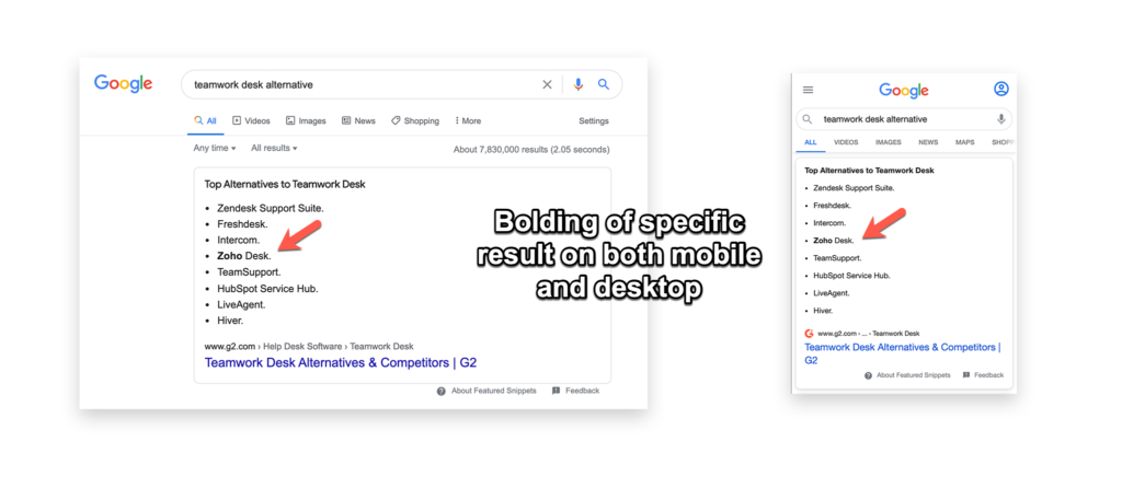 bolding of option in list featured snippet