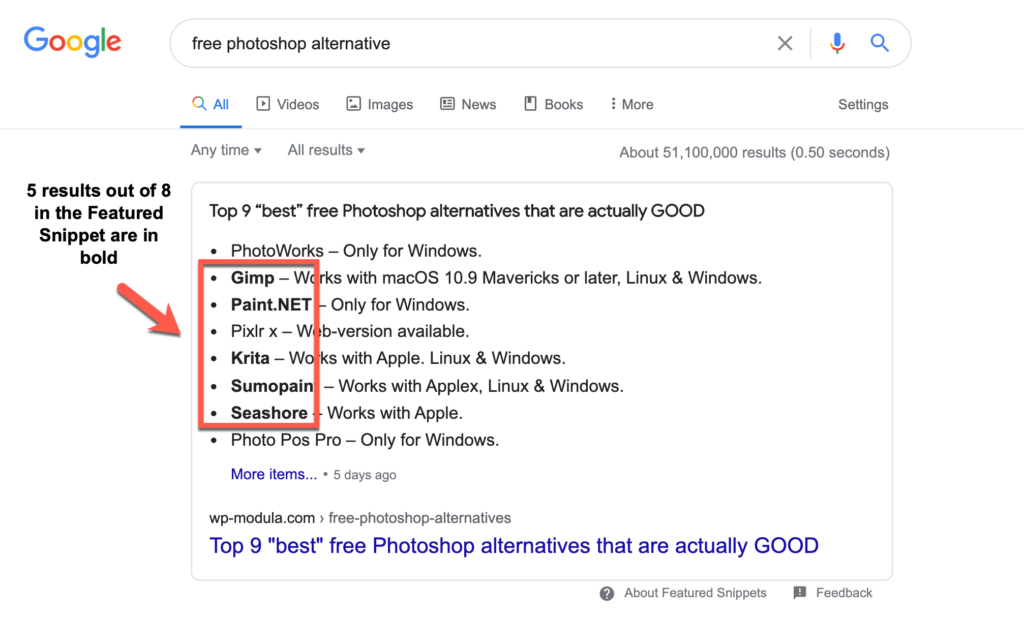 google featured snippet list format some bold items SEO