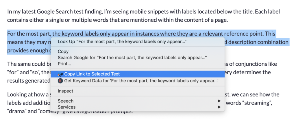 using text fragment chrome extension