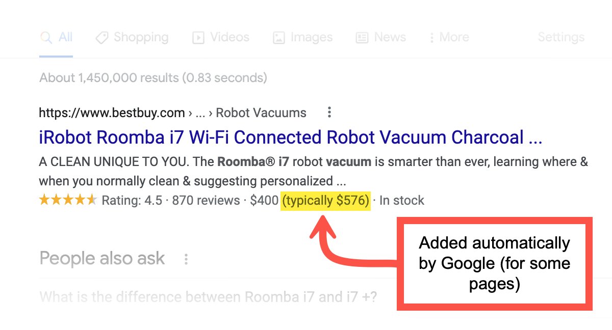 google price drop ecommerce page example feature